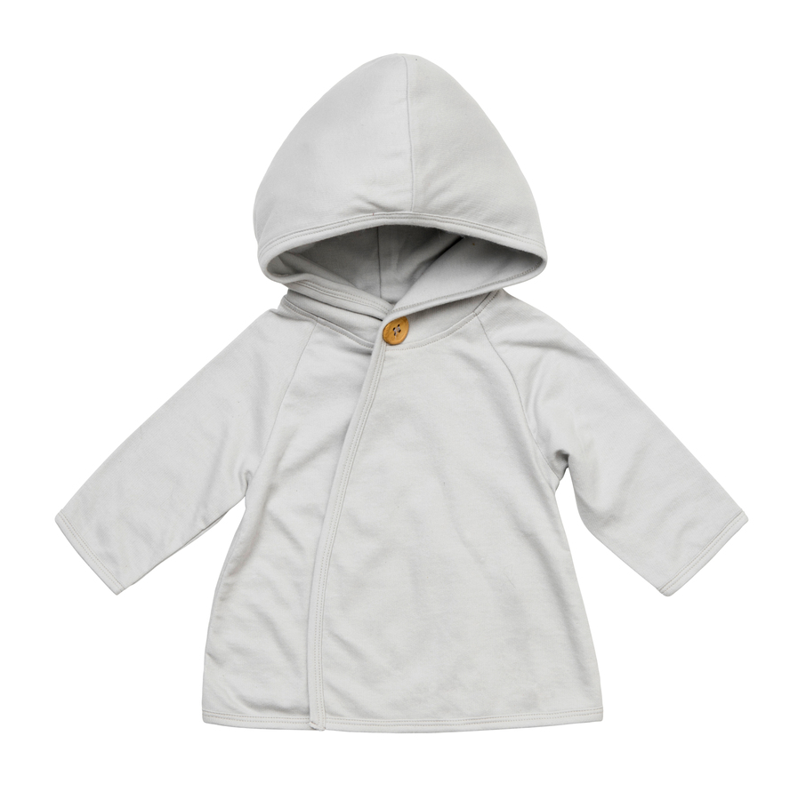 ICE GREY BABY BUTTON HOODIE