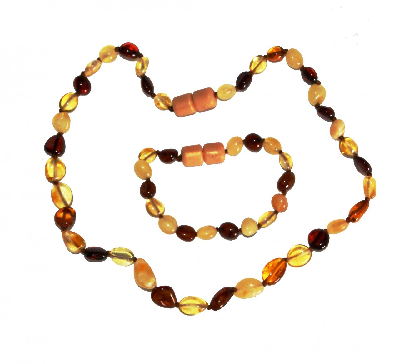 AMBEREASE CHILDREN'S AMBER NECKLACE – OLIVE BEADS MULTICOLOUR